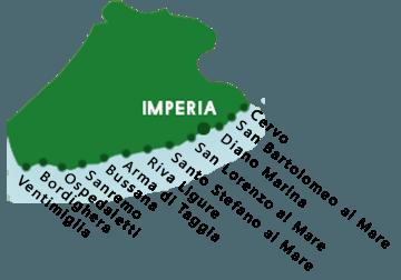 Een kaart van de stranden in de provincie van Imperia