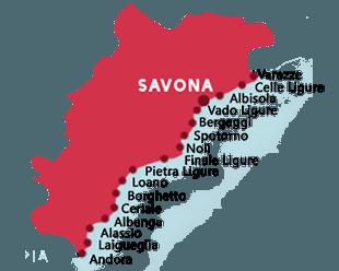 Kaart van de stranden in de provincie van Savona