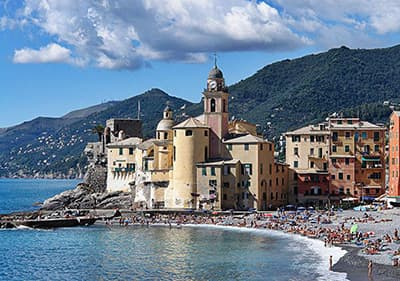 Uitzicht op Camogli in Ligurië