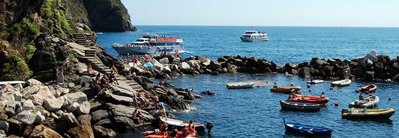 Boten in de Ligurische Zee