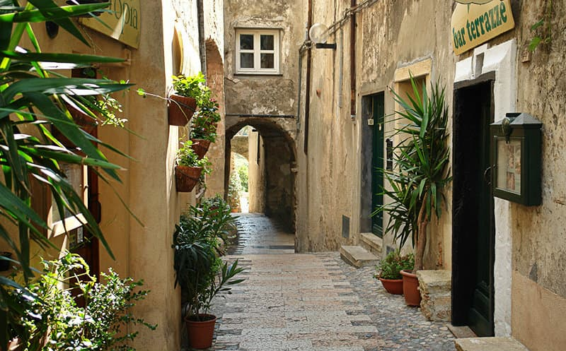 A romantic street of Cervo in Liguria