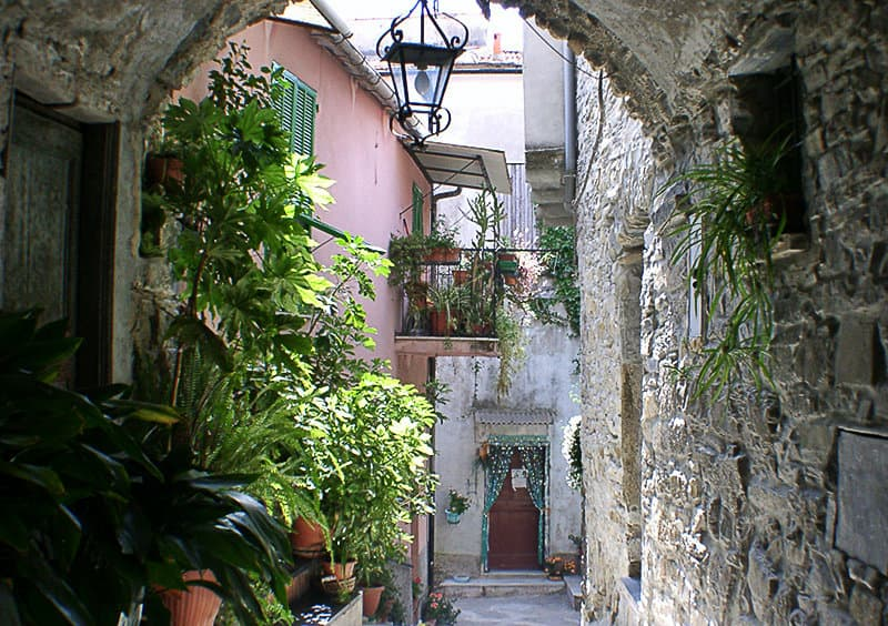 Romantic street of Chiusanico in Liguria