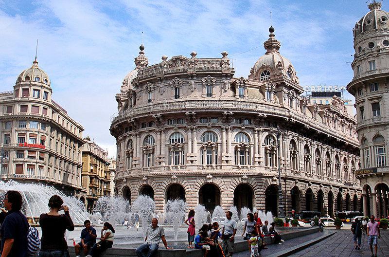 Piazza de Ferrari met een waterval in Ligurië