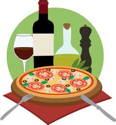 Italiaanse pizza en wijn