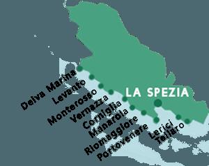 Kaart van de stranden in de provincie La Spezia