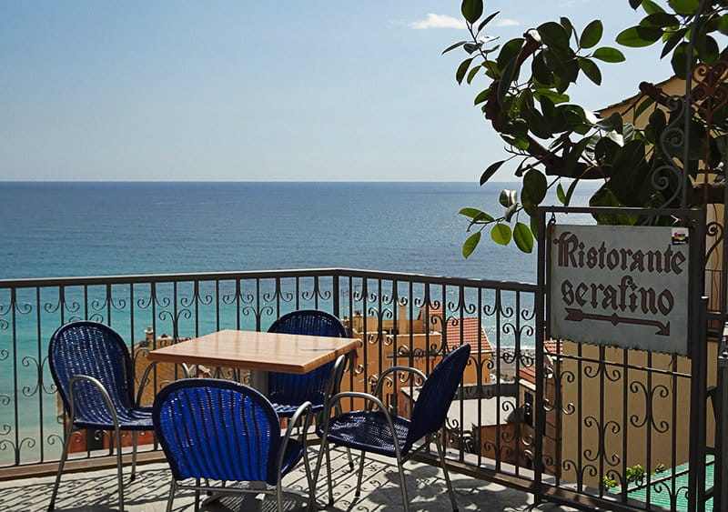View of restaurant Serafino in Cervo with wonderful panoramic view