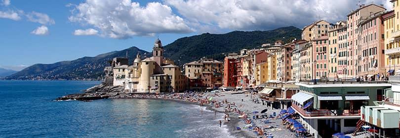Strand in de provincie Genua, Ligurië