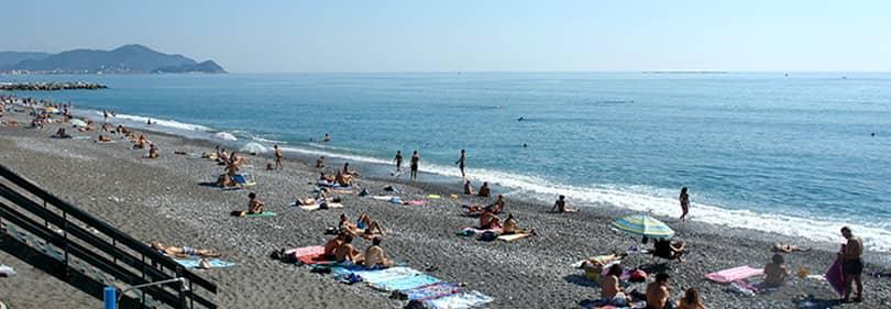 Strand in Lavagna, Ligurië