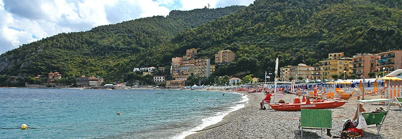 Beach in Noli, Liguria, Italy