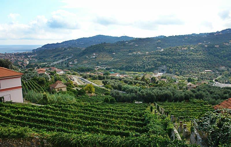Een prachtig uitzicht over de stad van Diano Castello