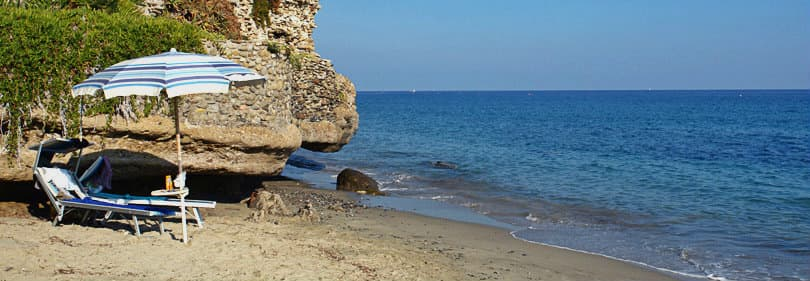 Strand in Bussana, Ligurie