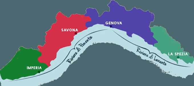 De regio Ligurië ligt in het noordwesten van Italië aan de Middellandse Zee